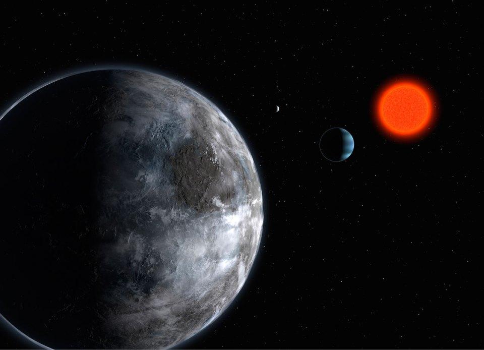 Vue d'artiste de la naine rouge Gliese 581 et de ses planètes. Ce système, découvert à l'aide de HARPS, possède au moins trois planètes. Cette étoile est une des rares naines rouges suffisamment brillantes pour être observée avec HARPS. NIRPS permettra l'étude d'un beaucoup plus grand nombre de naines rouges.