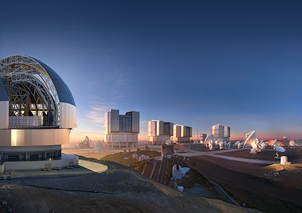 ESO's facilities in Chile merged into an imaginary landscape