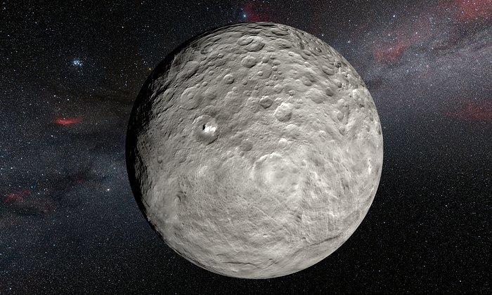 Esta imagen se basa en un mapa detallado de la superficie, construido a partir de imágenes tomadas por la nave espacial Dawn de la NASA, en órbita alrededor del planeta enano CERES. Muestra los puntos muy brillantes de material que hay en el cráter Occator y en otros lugares. Nuevas observaciones llevadas a cabo con el espectrógrafo HARPS, instalado en el telescopio de 3,6 metros ESO, en La Silla (Chile), han revelado cambios inesperados diarios en estos puntos, lo que sugiere que cambian bajo la influencia de la luz solar a medida que Ceres rota.