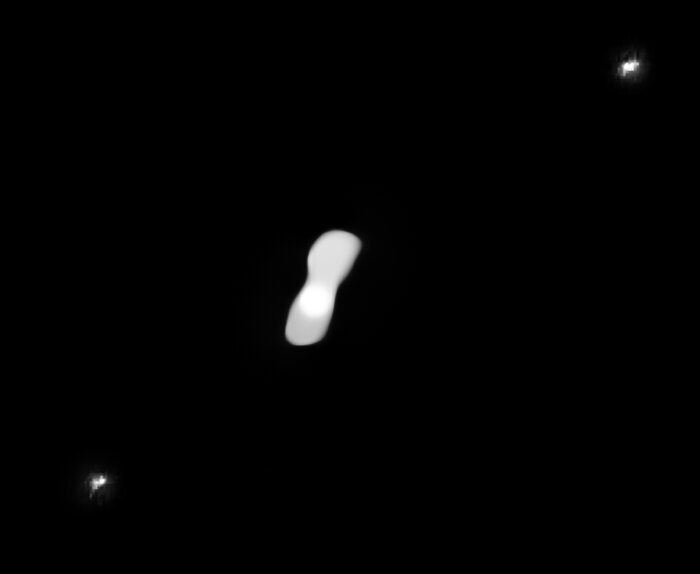 Processed SPHERE image showing the moons of Kleopatra