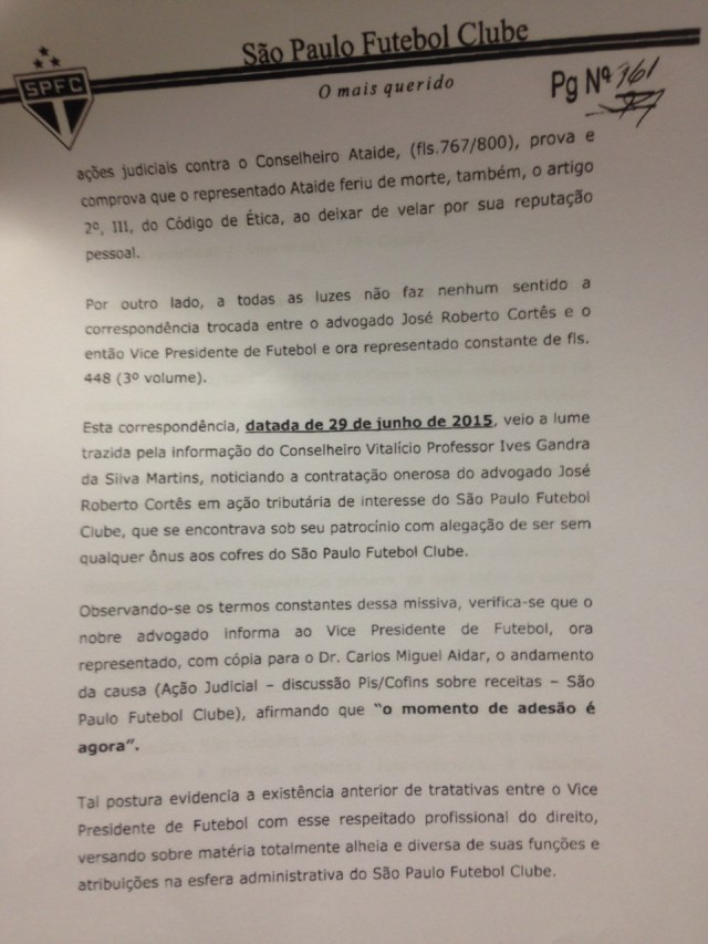 Comitê de Ética do São Paulo analisou polêmico manuscrito de Ataíde