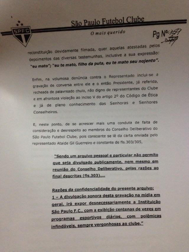 Quinta parte do Parecer da Comissão de Ética do São Paulo sobre Ataíde