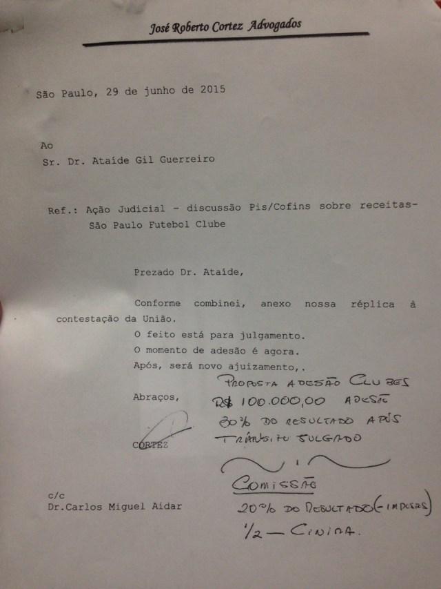 Letra de Ataíde em documento indica que vice sabia da divisão de comissão com CInira
