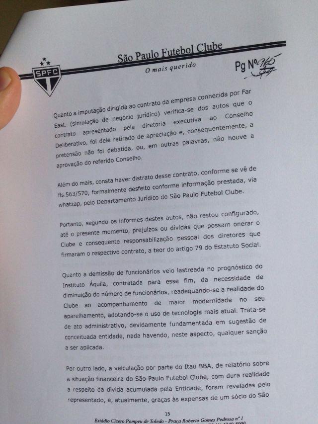 Terceira parte do parecer da Comissão de Ética do São Paulo sobre Aidar