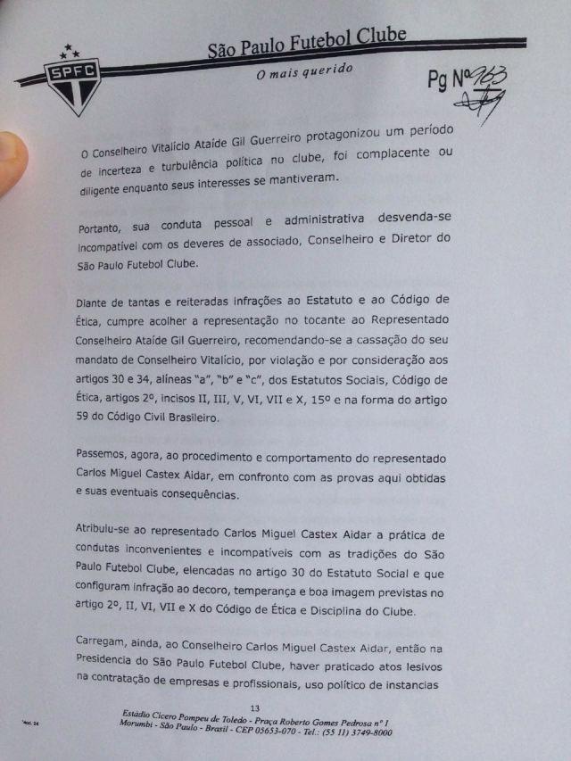 Primeira parte do parecer da Comissão de Ética do São Paulo sobre Aidar