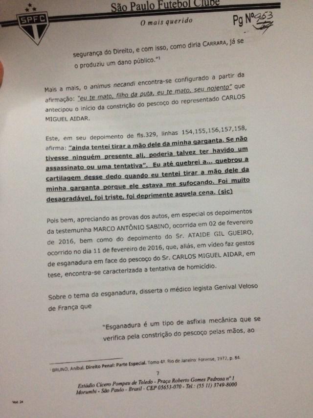 Terceira parte do Parecer da Comissão de Ética do São Paulo sobre Ataíde