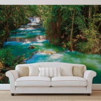 Waterfalls Trees Forest Nature Wall Paper Mural | Buy at ...