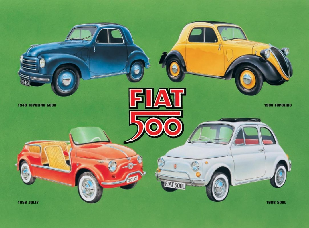 FIAT 500 COLLAGE Tin Signs Metal Signs  Sold at EuroPosters