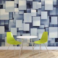 Abstract Squares Modern Blue Wall Paper Mural | Buy at ...