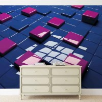 Modern Abstract Squares Blue Purple Wall Paper Mural | Buy ...