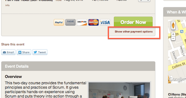 Other payment options
