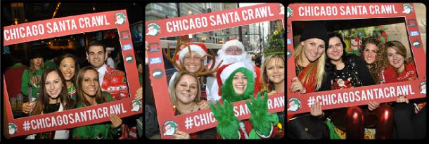 Chicago Santa Crawl Picture Collage