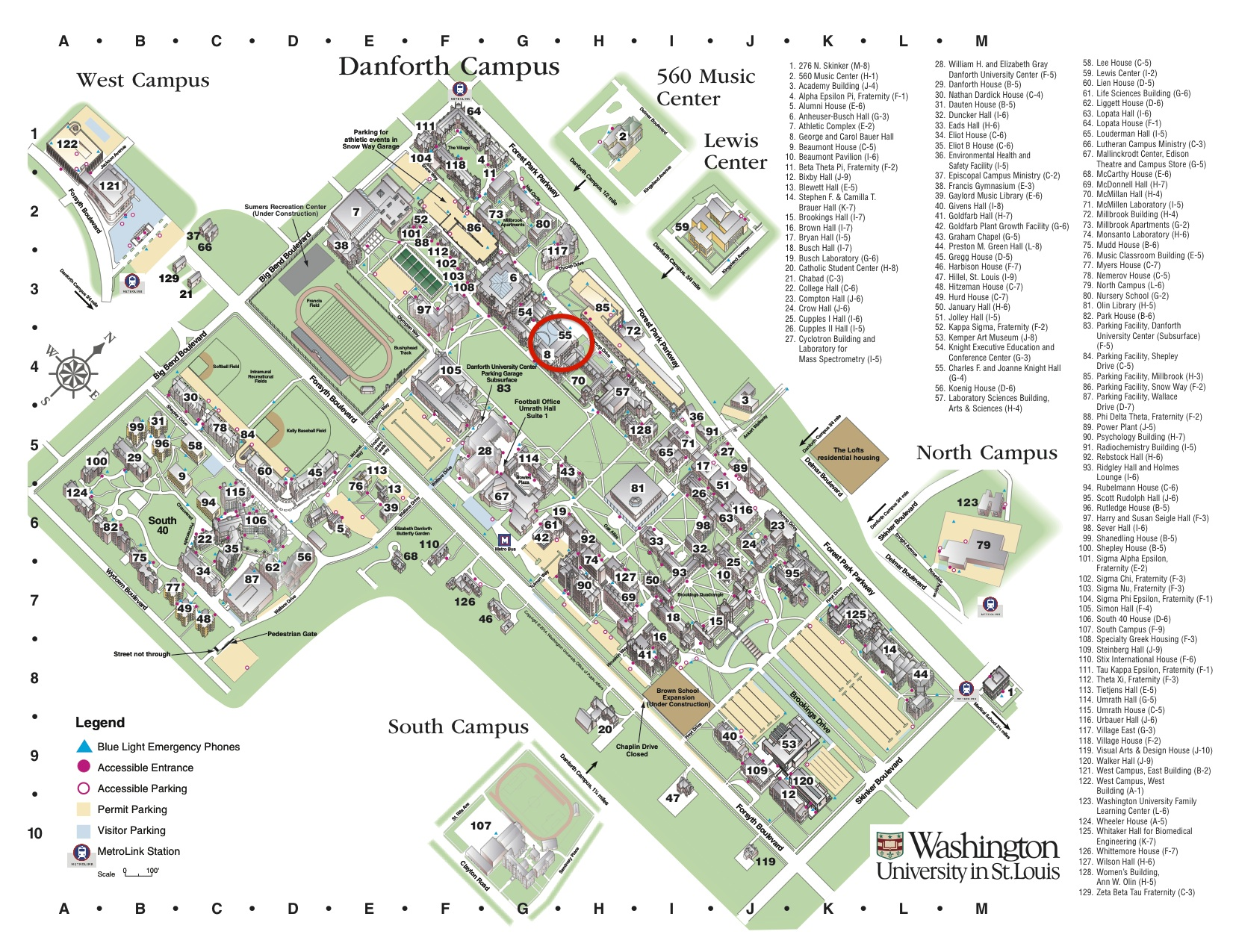 Washington University Danforth Campus Map