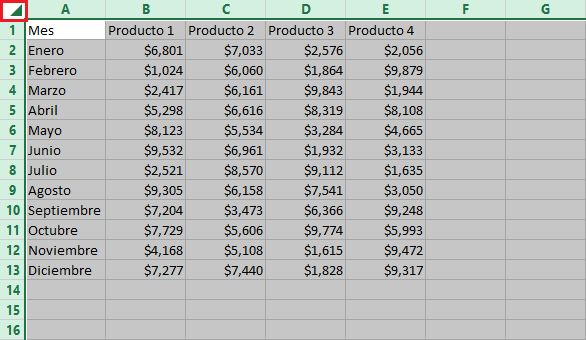 Atajo para seleccionar todo en Excel
