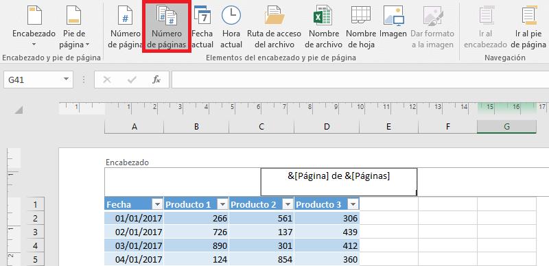 Cómo establecer el número de página en Excel