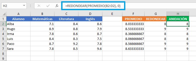 Cómo usar funciones anidadas en una fórmula