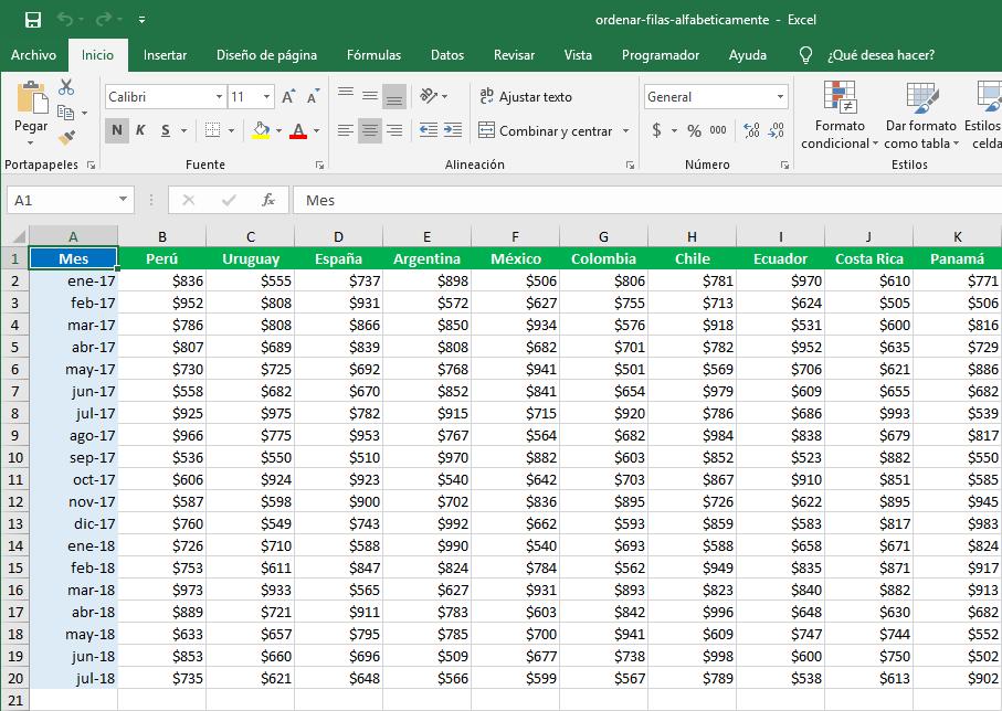 Cómo ordenar filas alfabéticamente en Excel