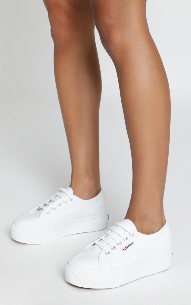 Superga - 2790 ACOTW Linea Up And Down Platform Sneakers In White Canvas 9