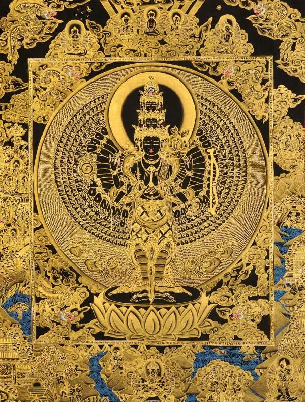 Thousand Arms Of Compassion Esoteric Black Thangka