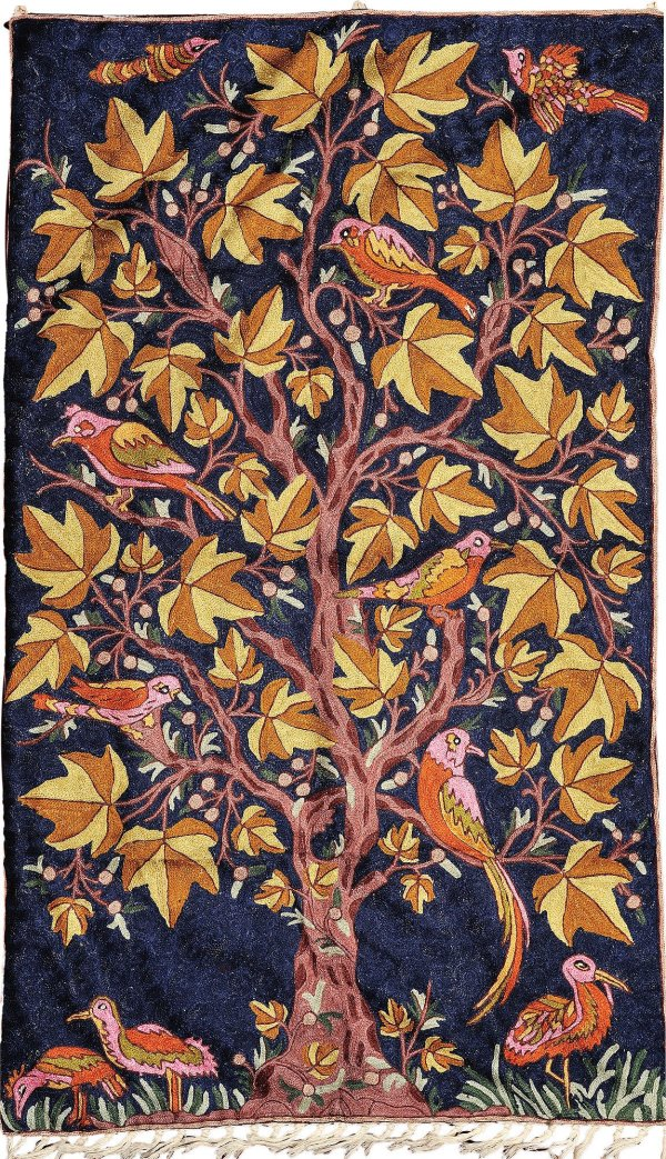 DarkBlue Tree of Life Asana cum Wall Hanging from Kashmir
