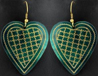 Valentine Earrings with Golden Etching