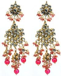 Fuchsia Red Kundan Beaded Earrings