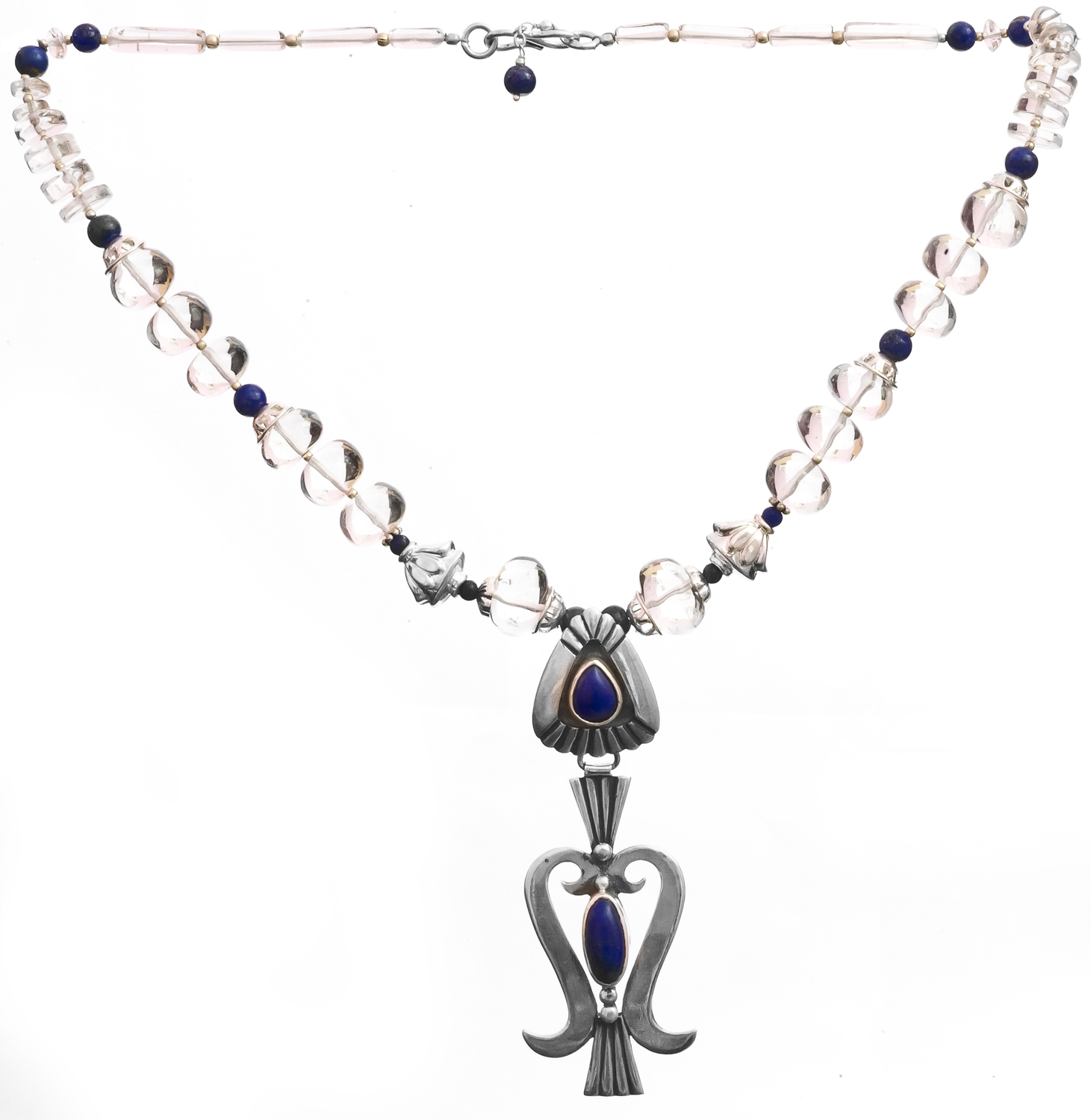 Crystal And Lapis Lazuli Beaded Necklace