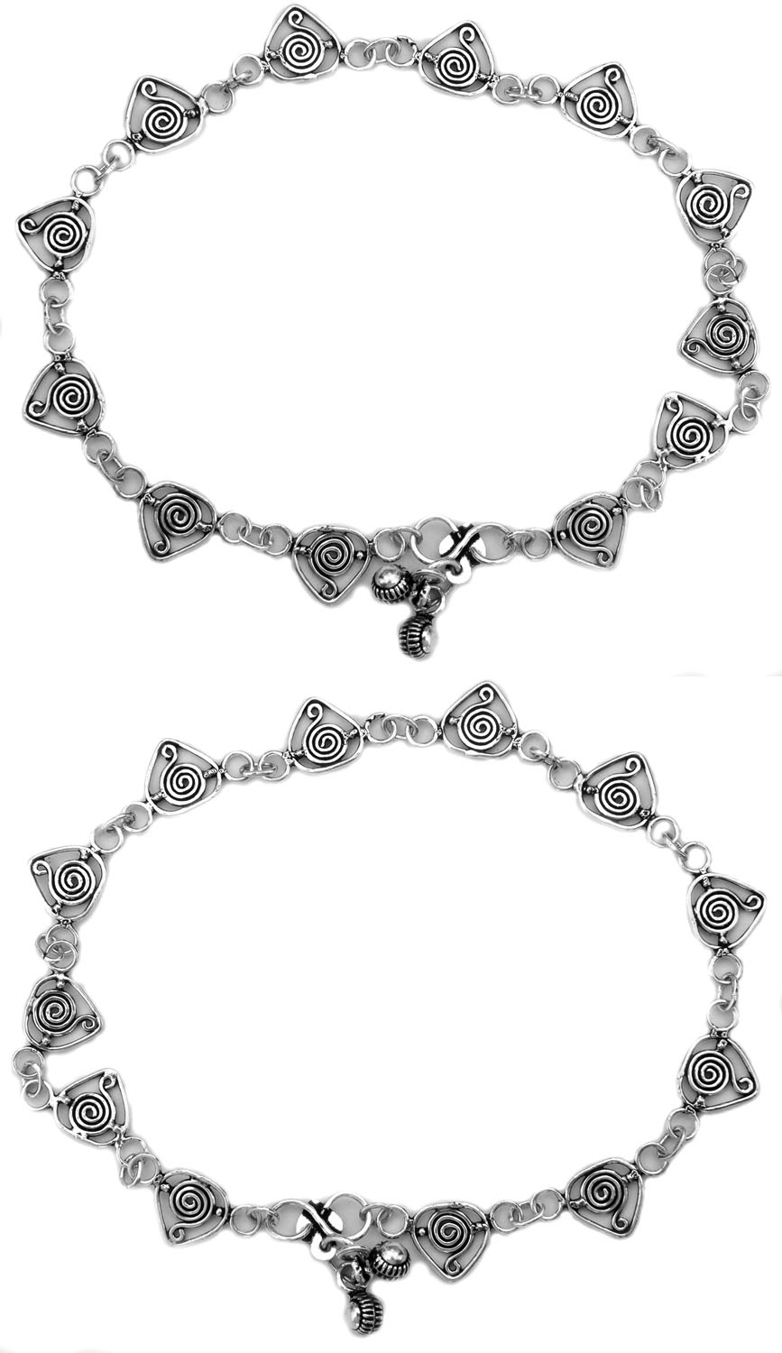 Sterling Anklets with Spiral (Price Per Pair)
