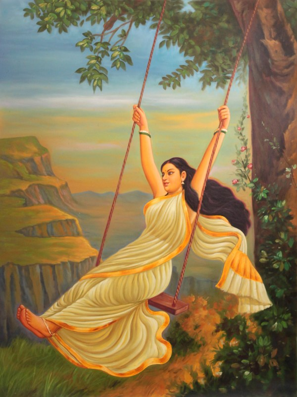 Lady On Swing Painting
