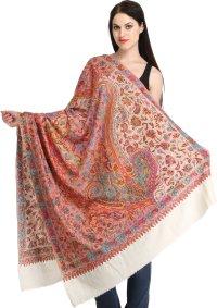 Ivory Kashmiri Pure Pashmina Shawl with Papier Mache Hand ...