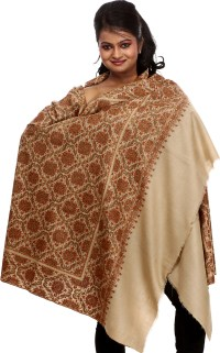 Beige Pure Pashmina Shawl with Densely Embroidered