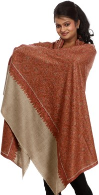 Beige Pure-Pashmina Shawl with Dense and Intricate ...