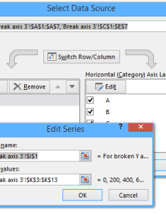 Series dialog box select cell  for broken  axis as name and range   ypos column values click ok   to close also how break chart in excel rh extendoffice