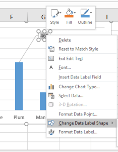 Right click the data label and select change shape in context menu then  from submenu see screenshot also how to add comment point an excel chart rh extendoffice