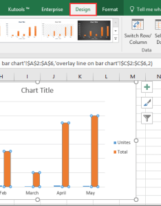 Select the specified bar you need to display as  line in chart and then click design   change type see screenshot also how overlay on excel rh extendoffice