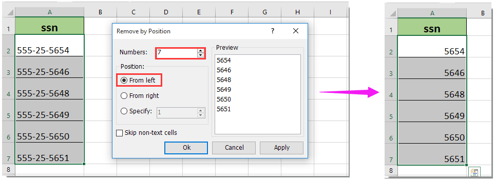 How To Show Only The Last 4 Digits Of Social Security Number Ssn In Excel
