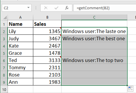 How To Easily Extract Comments Contents In Excel
