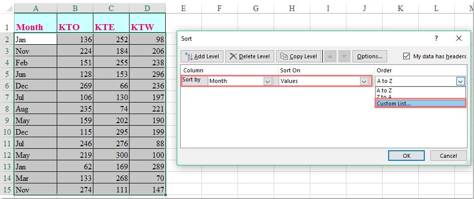 如何在Excel中按月份名稱排序?