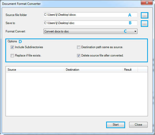 Quickly convert all docx (.docx) from a folder to doc (.doc) or PDFs in Word