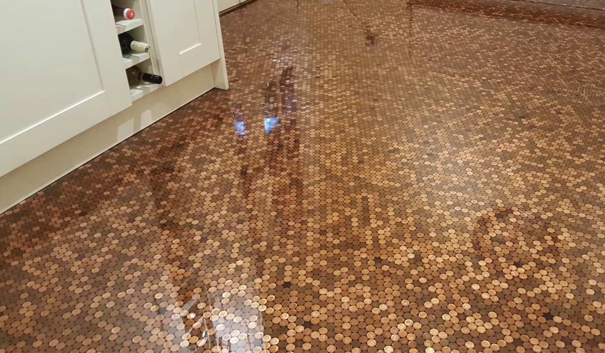 DIY Lover Completely Revamped His Kitchen Floor With Pennies