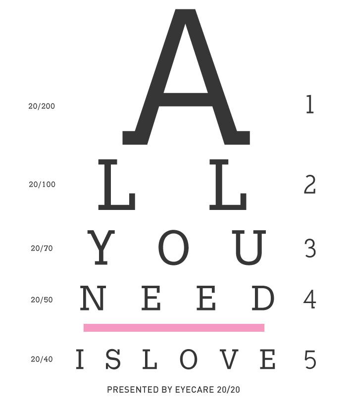 Printable Eye Exam: All You Need is Love
