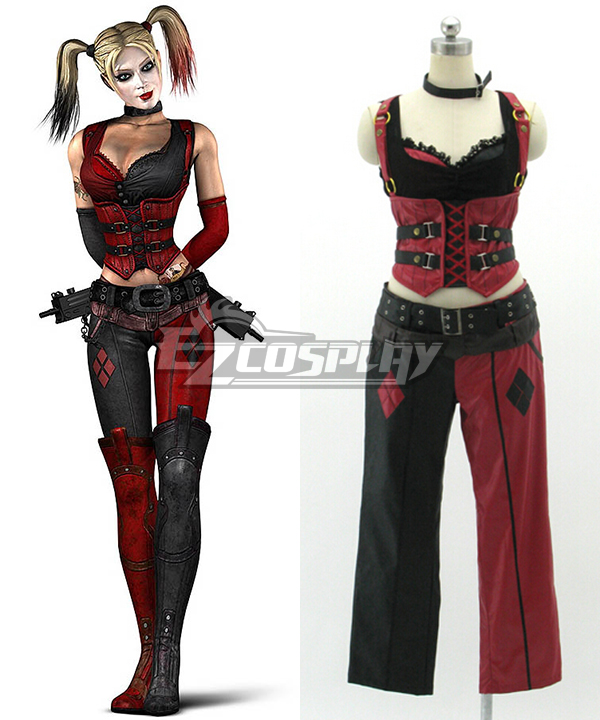 DC Comics Batman Arkham Asylum City Harley Quinn Red Cosplay Costume