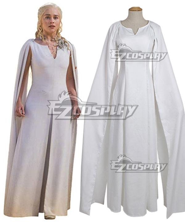 Game Of Thrones Daenerys Targaryen White Dress Cosplay Costume