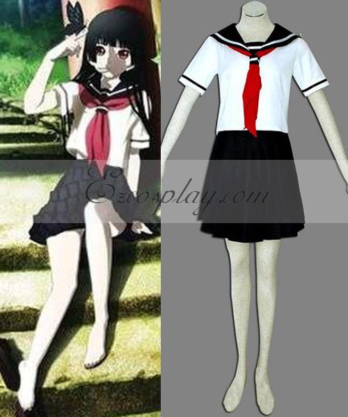 Hell Girl Enma Ai White Uniform Cosplay Costume