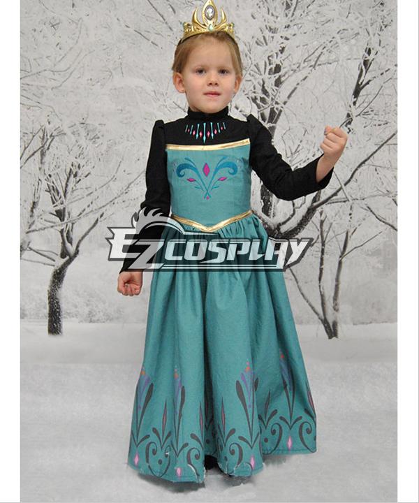 Frozen Snow Queen Outfit Disney Coronation Dress Cosplay Costume-Deluxe Ver