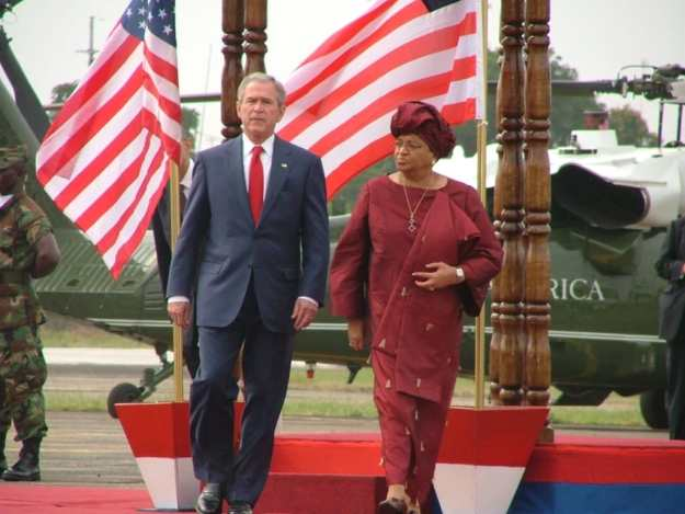 Ellen Johnson with George W. Bush
