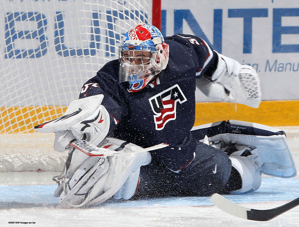505531e540b John Gibson stretches to make a save wearing the USA s jersey