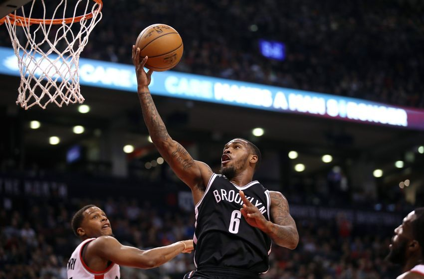 Dec 20, 2016; Toronto, Ontario, CAN; Brooklyn Nets guard Sean Kilpatrick (6) goes to the basket and scores against the Toronto Raptors at Air Canada Centre. The Raptors beat the Nets 116-104. Mandatory Credit: Tom Szczerbowski-USA TODAY Sports