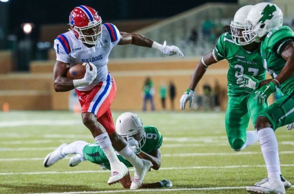 Nov 5, 2016; Denton, TX, USA; Louisiana Tech Bulldogs wide receiver Carlos Henderson (1) caries the ball in the fourth quarter against the North Texas Mean Green at Apogee Stadium. Mandatory Credit: Sean Pokorny-USA TODAY Sports