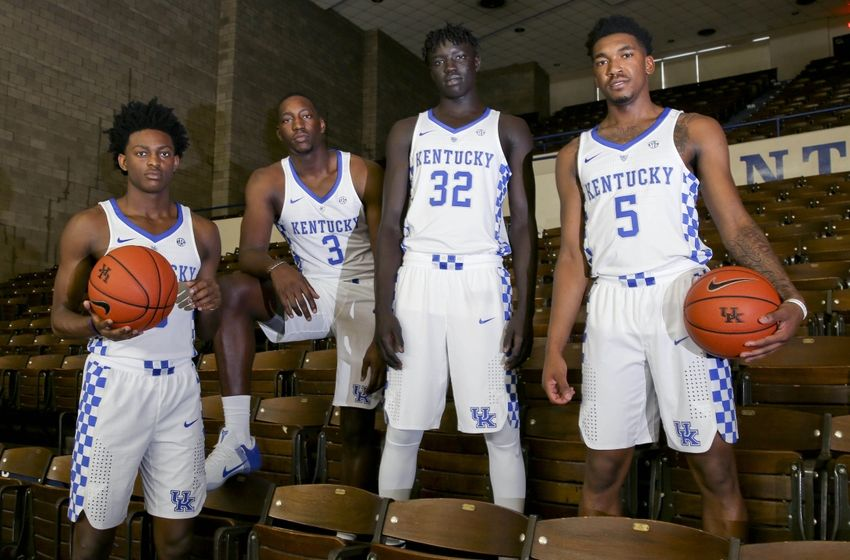 Sep 15, 2016; Lexington, KY, USA; Kentucky Wildcats guard De   Aaron Fox (0) forward Bam Adebayo (3) forward Wenyen Gabriel (32) and guard Malik Monk (5) during Kentucky media day at Memorial Coliseum. Mandatory Credit: Mark Zerof-USA TODAY Sports